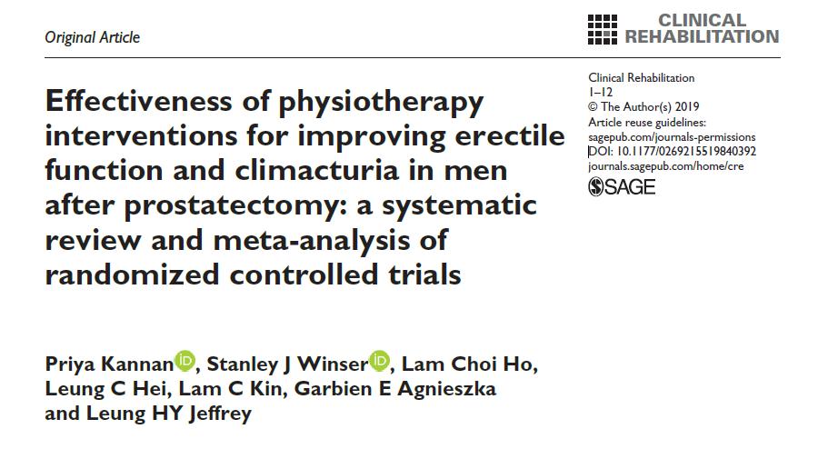 Eficácia da fisioterapia: intervenções para melhorar a função erétil e climatúria em homens após a prostatectomia: uma revisão sistemática e meta-análise de ensaios clínicos randomizados