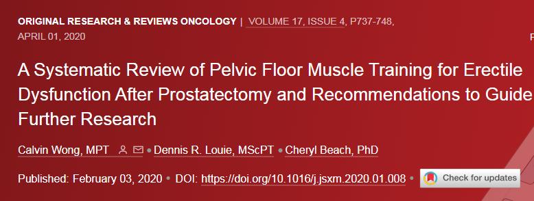 Treinamento dos músculos do assoalho pélvico para disfunção erétil após a prostatectomia