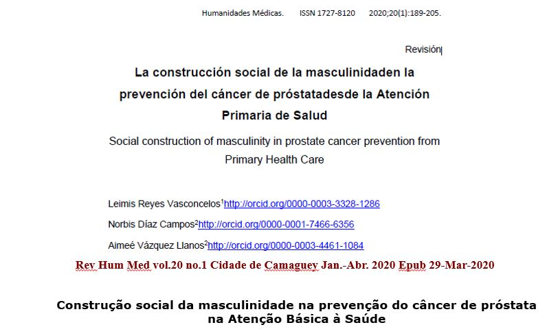A construção social da masculinidade na prevenção do câncer de próstata na Atenção Básica à Saúde