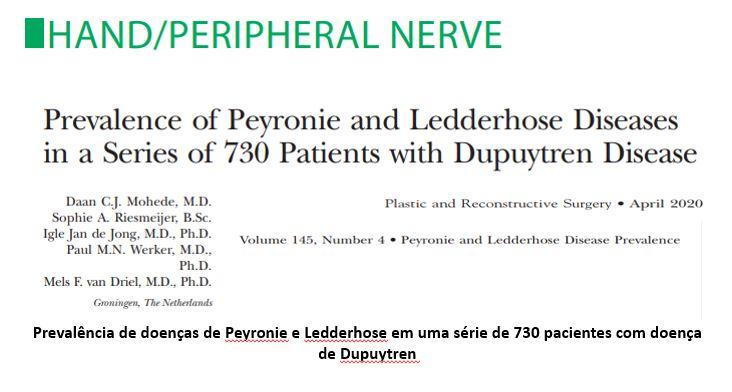 Prevalência de doenças de Peyronie e Ledderhose em uma série de 730 pacientes com doença de Dupuytren