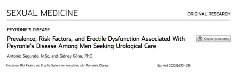 Prevalência, fatores de risco e disfunção erétil associados à doença de Peyronie entre homens que procuram atendimento urológico