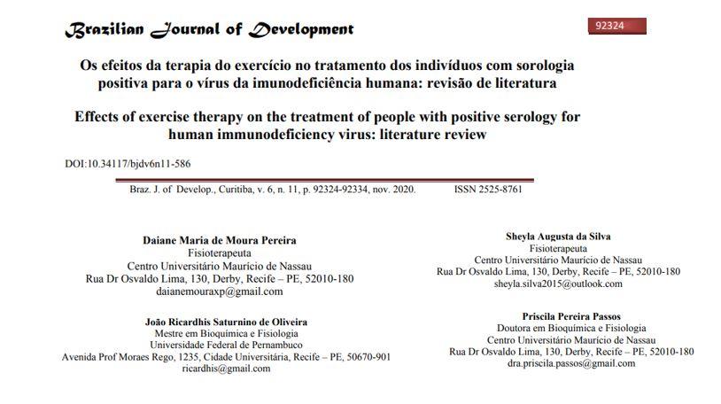 Os efeitos da terapia do exercício no tratamento dos indivíduos com sorologia positiva para o vírus da imunodeficiência humana: revisão de literatura