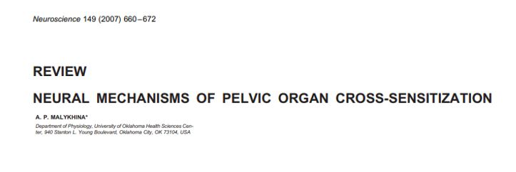 Mecanismos neurais de sensibilização cruzada de órgãos pélvicos