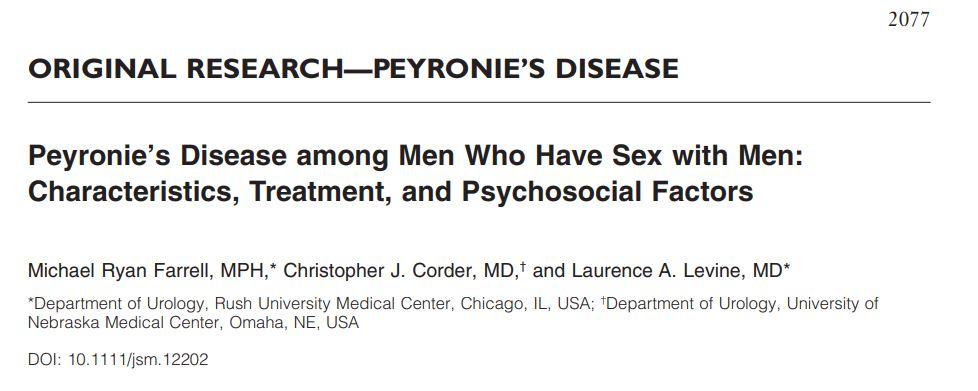 Doença de Peyronie entre homens que fazem sexo com homens: características, tratamento e fatores psicossociais