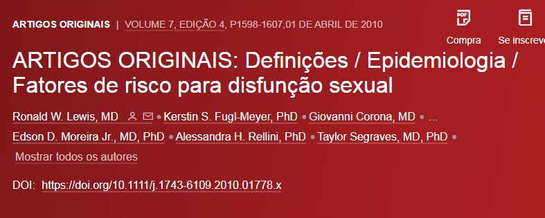 Definições, Epidemiologia e Fatores de risco para disfunção sexual