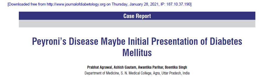 A doença de Peyronie pode ser a apresentação inicial de diabetes mellitus