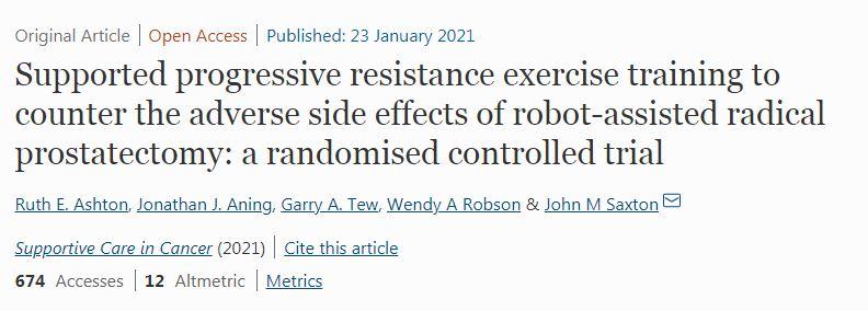 Treinamento de exercícios de resistência progressiva com suporte para combater os efeitos colaterais adversos da prostatectomia radical assistida por robô: um ensaio clínico randomizado