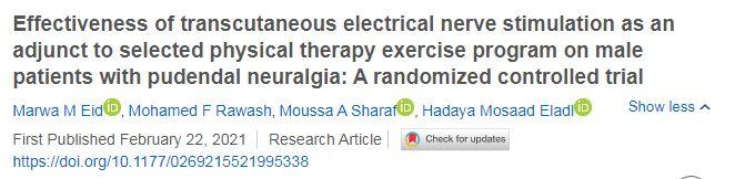 Eficácia da estimulação elétrica nervosa transcutânea como um adjunto ao programa de exercícios de fisioterapia selecionado em pacientes do sexo masculino com neuralgia pudenda: um ensaio clínico randomizado